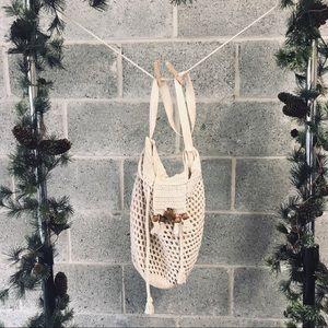 Handmade Macrame Drawstring Bag with Wood Clasp